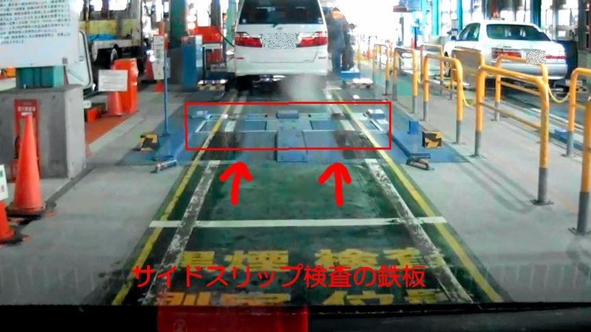 サイドスリップ検査の鉄板アップ画像