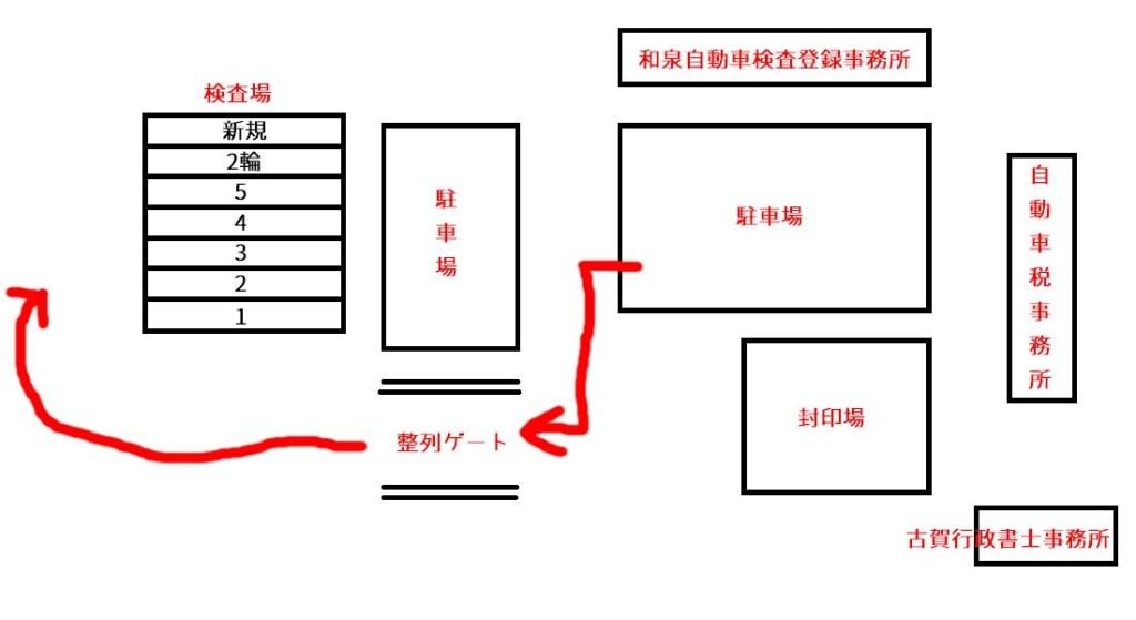 駐車場から検査ラインへのマップ(和泉自動車検査登録事務所)